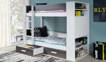 GASPAR łóżko 2 osobowe piętrowe z regałem