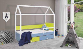 OFELIA II łóżko 1 osobowe z barierką – domek