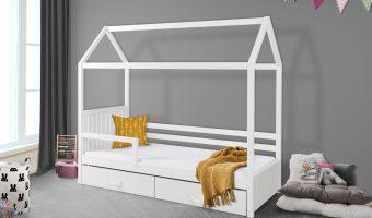 ROZALIA II łóżko 1 osobowe z barierką – domek